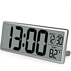 WEIYYY Square Wall Clock Series, 13.8 Large Digital Jumbo Alarm Clock, LCD Display, Multi-Functional Upscale Office Decor Desk
