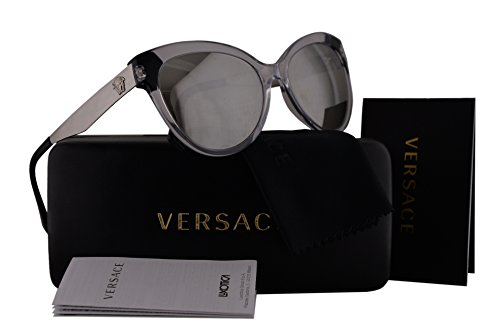 Versace VE4338 Sunglasses Black Crystal w/Light Gray Mirror Lens 52436G VE - Rimless Versace Glasses