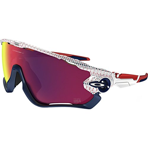 Oakley Men's Jawbreaker Non-Polarized Iridium Rectangular Sunglasses, White Team USA Kinetist, 31 - Oakley Usa