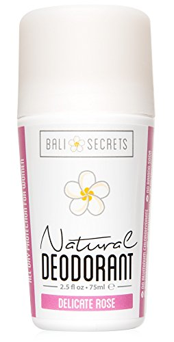 Bali Secrets Natural Deodorant • Organic & Vegan • For Women & Men • All Day Fresh • Strong & Reliable Protection • 2.5 fl.oz/75ml [Scent: Delicate Rose]