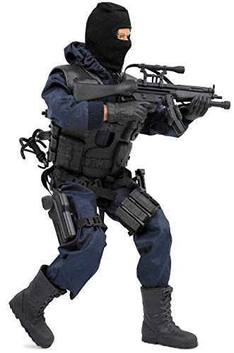 Click N Play CNP30404 Police Unit Swat Assaulter 12 Action Figure Play Set with Accessories Brown//A Click N/' Play SG/_B07FPTXGH3/_US
