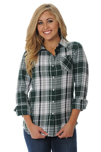 Ug Apparel Ncaa Michigan State Spartans Womens Boyfriend Plaid Shirt  X Large  Green Grey White