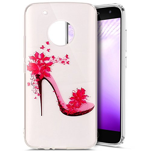 Price comparison product image Moto G5 Plus Case,Moto G5 Plus Clear Case,PHEZEN Pink Flower Highheel Design Ultra Thin Anti-Scratch Flexible TPU Gel Rubber Soft Skin Silicone Protective Case Cover For Moto G Plus (5th Gen)