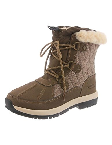 Quilted Leather Wedge - Bearpaw Womens Bethany: Waterproof 6 In. Snow Boot (Olive, 7)