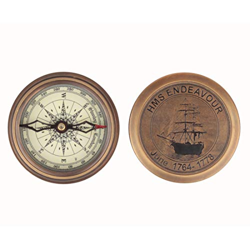 storeindya Pocket Compass Handmade Brass Maritime Office Desk Accessories Camping Accessories Collectibles with Cover 3 Inches (Sting The Sword And The S)