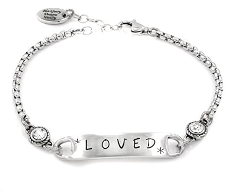 Personalized Engraved Bar bracelet with Birthstone in Stainless Steel (Silver Custom Cast Sterling)