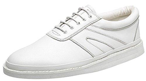 Hombre zapatos de bolos de piel con cordones Blanco