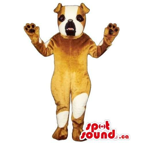 Spot Mascot Dog (Customised Brown Bulldog Mascot SpotSound US With White)