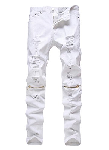 Men's Slim Fit Pencil Pants Vintage Zipper Denim Distressed Stretch Ripped Jeans (36, White-Gold - Jeans Mens Zip