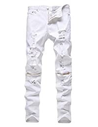 Men's Slim Fit Pencil Pants Vintage Zipper Denim Distressed Stretch Ripped Jeans