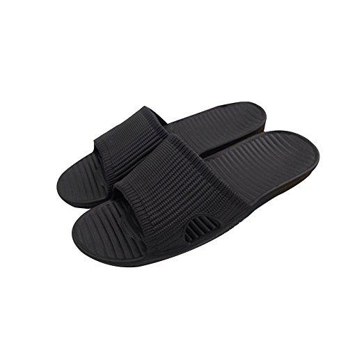 Tellw Eva Verano Interior Antideslizante Simples Hombres Zapatillas Parejas Baño Zapatillas De Plástico Beach Slippers Negro