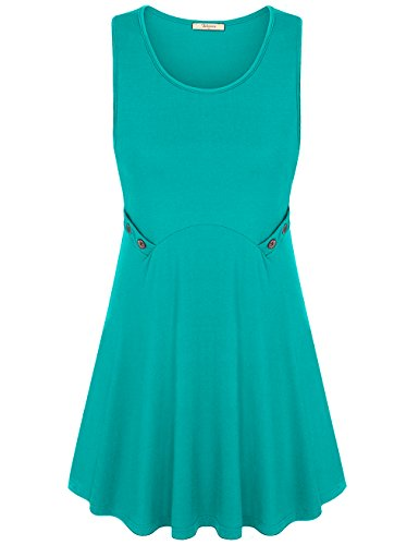 Bebonnie Trapeze Tunic Top Dress, Women's Sleeveless Scoop Neck Summer Comfy Cool Fiber Knit T-Shirt Tank Top Jade Green XL