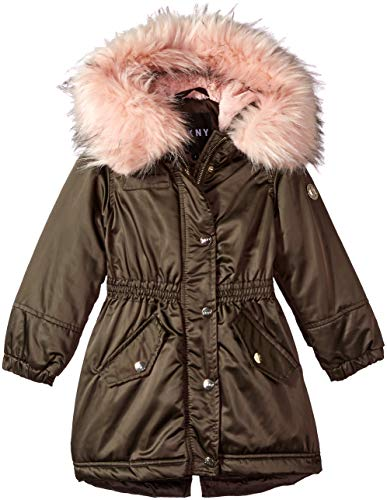 DKNY Girls' Toddler Long Anorak Jacket, Olive/Blush 3T (Dkny Cotton Coat)
