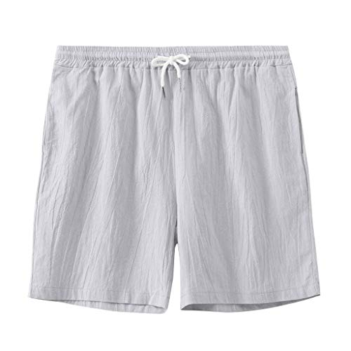 (Ninasill Hot!Men's Solid Color Straight Surfing Beach Shorts Large Size Tethered Sports Shorts Summer Swimming Pants Gray)
