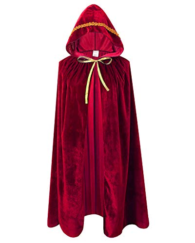 Ourlove Fashion Kids Velvet Cape Cloak with Hood Unisex-Child Cosplay Halloween Christmas Costume (100cm/39.4inch, Wine -
