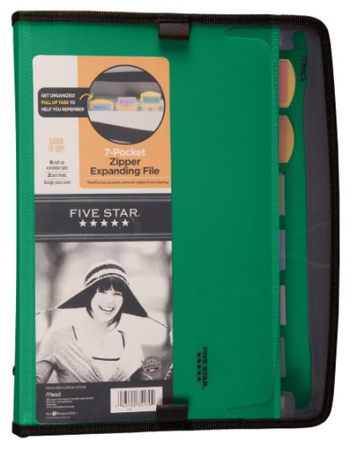 Five Star Expanding File, Customizable, 7-Pockets, 13.75 x 10.75 Inches, Green (72707)