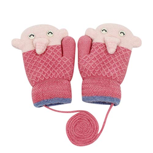 RARITY-US Unisex Warm Soft Winter Knit Gloves for Kids Boys Girls Baby Glove with Stripe Mittens (0 to 6Y)