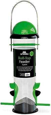 (トムチェンバース) Tom Chambers 野鳥用 ロールトップ バードフィーダー 餌台 えさ置き バードウォッチング (2ポート) (グリーン/ブラック)