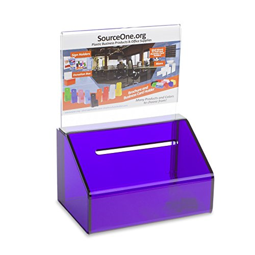 Source One PURPLE Heavy Duty Small Donation/Ballot Box with Lock and Sign Holder 5 Inch Wide by SOURCEONE.ORG
