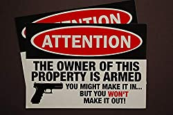 Five Star Graphics Owner Is Armed Warning Sticker Set 2 Pack! 5 X 3 5 2nd Amendment Decal Anti Theft Security Burglar Alarm Waterproof X2ps11