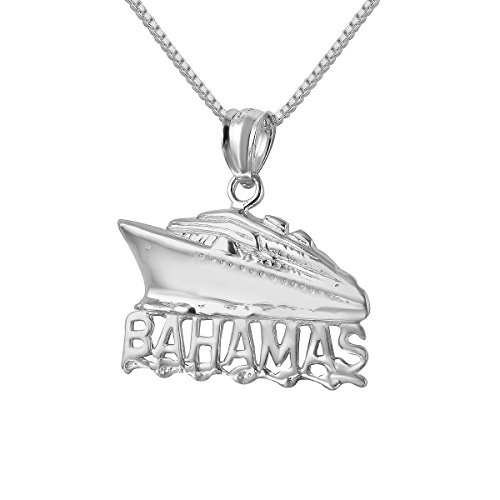 Sterling Silver Bahamas Cruise Ship Charm / Pendant, Made in USA, 18
