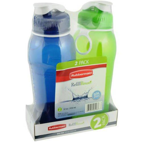 Water Bottle 32 Oz Loop - Rubbermaid Refill Reuse Chug Water Bottles, Flip-Top Lid, BPA-Free, Finger Loop for Easy Carrying, 32oz, 2 Pack
