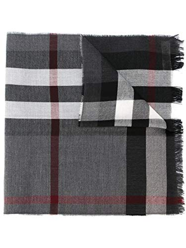 Burberry Wool Cashmere - Burberry Mens Lightweight Wool Cashmere Tonal Charcoal Scarf