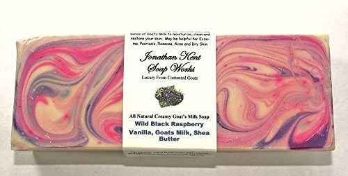 Jonathan Kent Goats Milk SOAP LOAF – WILD BLACK RASPBERRY & VANILLA Creamy 100% Farm Fresh Goats Milk & Shea Butter, NO WATER Large 3 to 3.5 Pound Loaf. Creamy Butterfat, Moisturize & Clean your Skin (Soap Loaves)