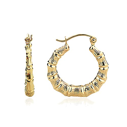 14K Yellow Gold 3mm Hollow Plain Gold Bamboo Hoop (Bamboo Yellow Earrings)
