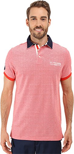 U.S. Polo Assn. Men's Solid Pique Polo Shirt with Contrast Collar, Crimson Fire, (Contrast Collar Pique Polo Shirt)