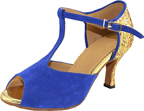 Abby Womens Comfort Latin Modern Tango Cha-cha Custom Heel Cap-toe Fabric Professional Dance-shoes Blue Qco220kP19