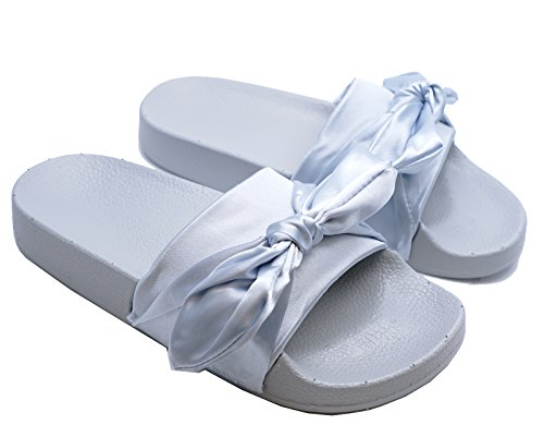 HeelzSoHigh Ladies Grey Satin Slip-On Sliders Comfy Flat Mules Holiday Sandals Shoes UK 3-8 TSdLt8C