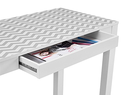 Altra Parsons Desk With Drawer White Gray Chevron