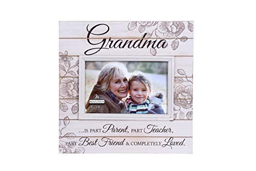 Malden International Designs Sun Washed Words Grandma Cream Distressed Picture Frame, 4x6, Cream