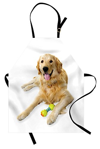 Ambesonne Golden Retriever Apron, Pet Dog Laying Down with Toy Friendly Domestic Puppy Playful Companion, Unisex Kitchen Bib Apron with Adjustable Neck for Cooking Baking Gardening, Sand Brown