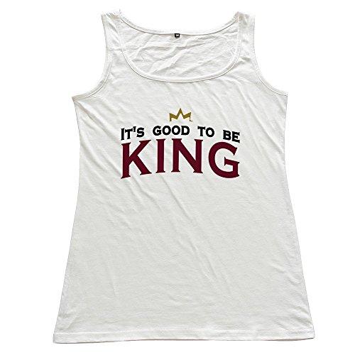 FACAI Women's Its Good Be King 3c Cotton Tank Top Vest White L