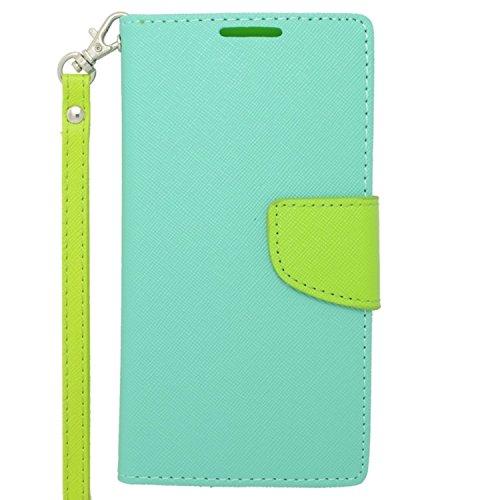 Zizo Motorola Droid Turbo Wallet Flap Pouch - Retail Packaging - Baby Blue/Neon Green