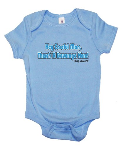 """One Liners THE BIG LEBOWSKI """"HEY CAREFUL MAN, THERE'S A BEVERAGE HERE."""" MOVIE LINE ONESIE IN LT. BLUE/NAVY- 6-12 Months"""