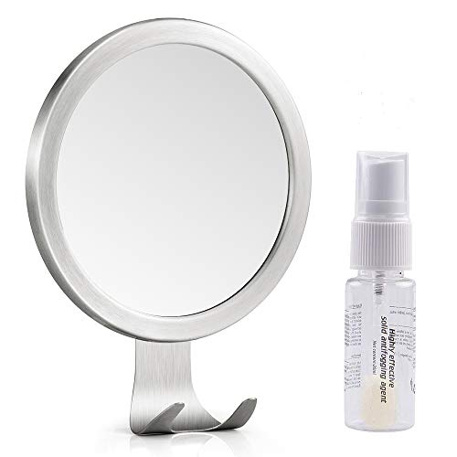 Shower Mirror, LUXEAR Anti Fog Round Shaving Mirror with Fog Free Spray - Bathroom Shaving Foam Mirrors