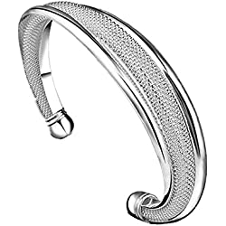Willsa New Fashion Jewelry 925 Sterling Silver Womens Charm Bangle Bracelet for Gift Wedding Party Decor (Sliver)