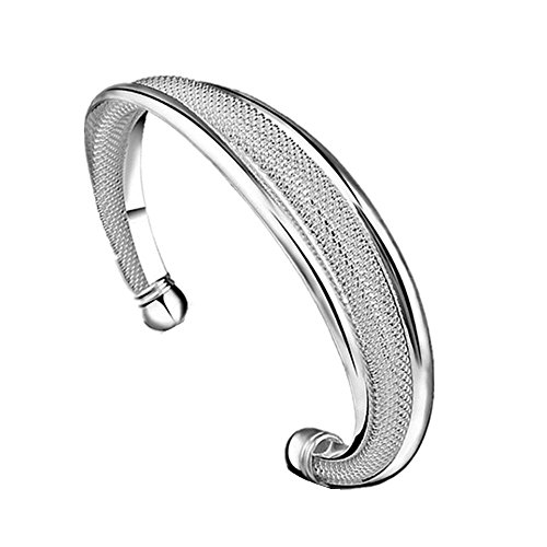 Willsa New Fashion Jewelry 925 Sterling Silver Womens Charm Bangle Bracelet for Gift Wedding Party Decor (925 Silver New Bracelet)