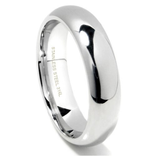 Plain Dome Mens Wedding Band - 6MM 316L Stainless Steel High Polish Finish Plain Dome Wedding Band Ring Sz 8