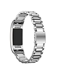 Watch Band, Welcomeuni Genuine Stainless Steel Watch Band Strap For Fitbit Charge 2 Silver