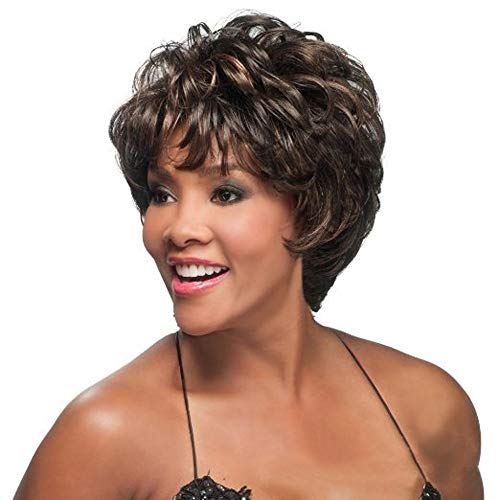 Inkach Curly Short Wig Heat Resistant Synthetic Fiber Human Hair for Black Womens Costume Cosplay Party Female Wigs (Brown)]()