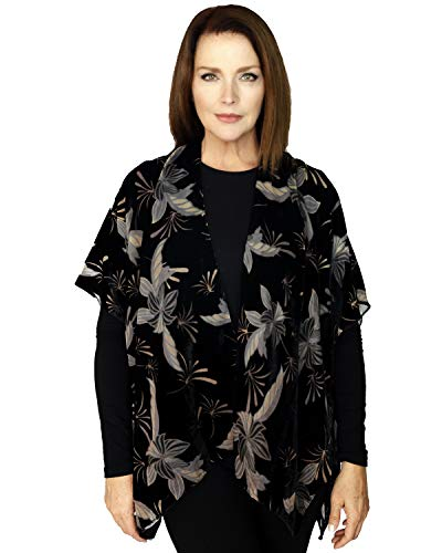 Women's Floral Leaf Burnout Open Front Velvet Kimono Top Cardigan W/Short Sleeves, Cover up, One Size(MSF886) Black ()