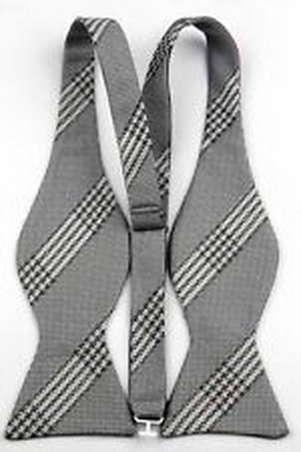 Tour Bows (jacob alex #42753 Gray Lattice Stripe Men's Self Bow Tie Wedding Bowtie + Handkerchief)