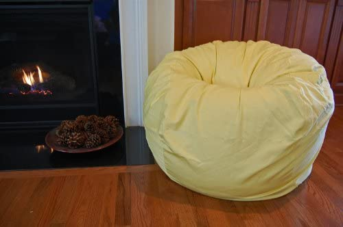 Ahh Products Yellow Organic Cotton Washable Large Bean Bag Chair
