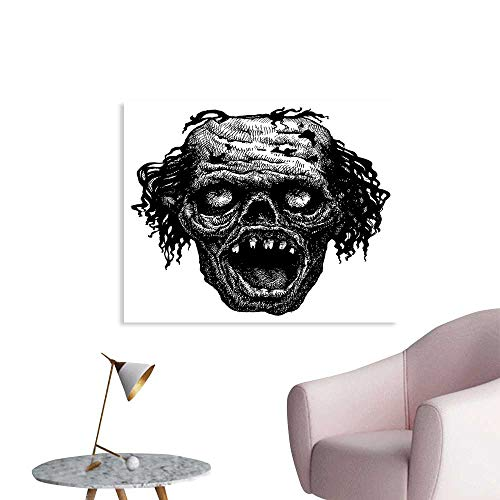 J Chief Sky Halloween Wall Paper Zombie Head Evil Dead Man Portrait Fiction Creature Scary Monster Graphic Decor Sticker W28 xL20 -