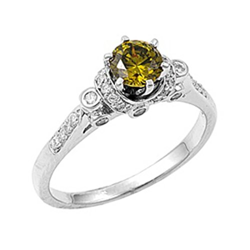 Blue Apple Co. Dazzling Wedding Ring Round Simulated Olivine Green Peridot Round CZ Solid 925 Sterling Silver