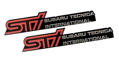 2 x (Pair / Set) STi Subaru Technica International Aluminum Engine Hood Emblem Badge Nameplate for Subaru Forester II Type M tS Outback Impreza WRX STi 22B S201 S202 S203 S204 R205 S206 Legacy GT RS RA RA-R S401 S402 R14 RB5 EXIGA 2.0GT